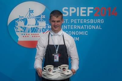 SPIEF-2014 has had 67,000 cups of Greenfield tea and 85,000 cups of Jardin coffee